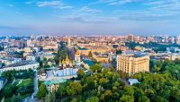 Aerial panorama of St. Michaels Golden-Domed Monastery, Ministry of Foreign Affairs and Saint Sophia Cathedral in Kiev - Things To Do in Kyiv - Ukraine