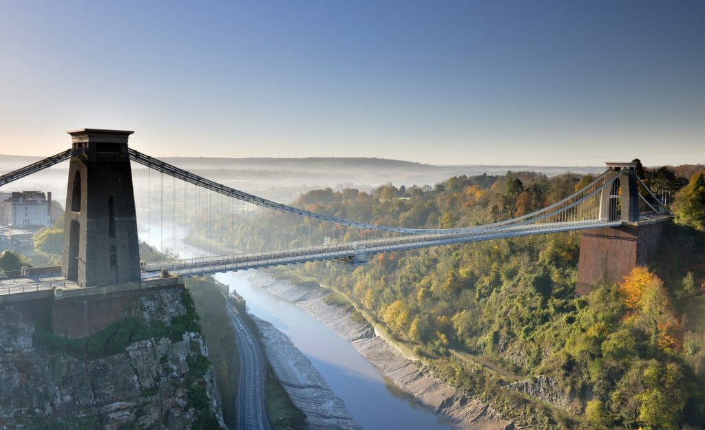 Clifton Suspension Bridge over Gorge, Bristol, UK