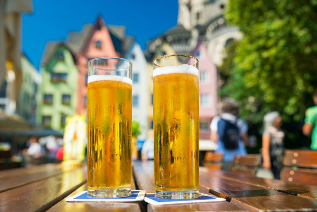 2 Glasses of German Kölsch Beer in Cologne