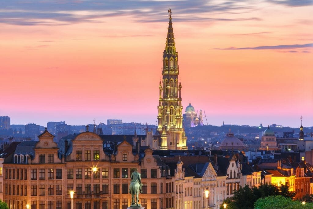Brussels City Hall and Mont des Arts area at sunset in Belgium, Brussels.