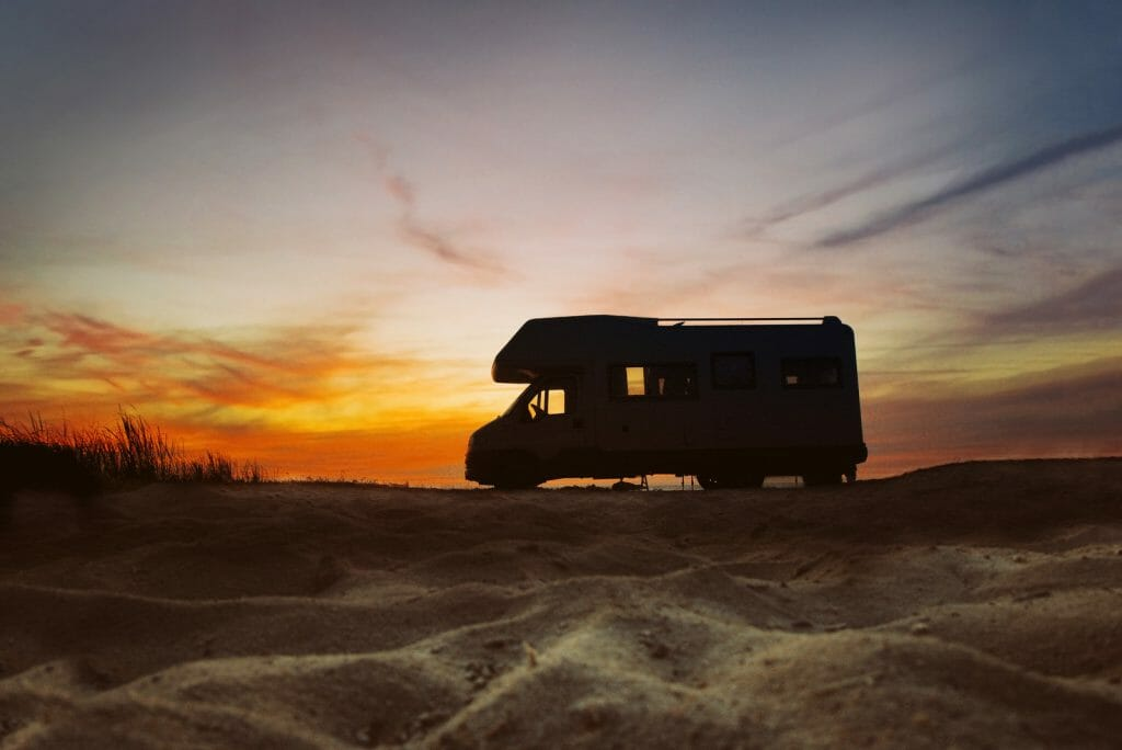 Sunset and caravan silhouette on the Algarve Portugal