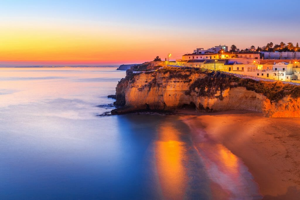 A panorama of Carvoeiro at the dusk in Algarve region, Portugal