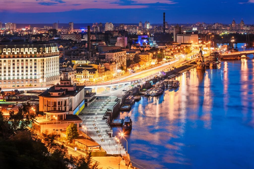 Scenic summer evening aerial view of Dnieper river pier and port in Kyiv, Ukraine. See also: