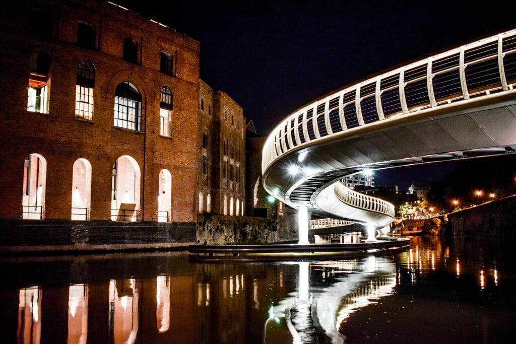 Night photo - Long exposure shot of Finzels Reach Bridge in Bristol