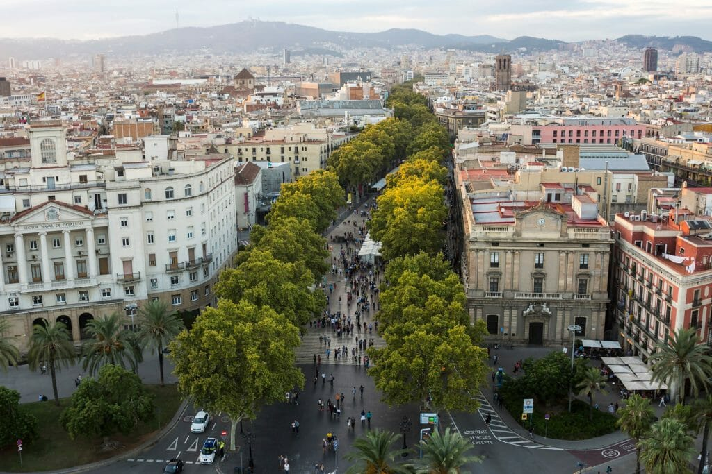 Aerial view of La Rambla Barcelona with Green trees and city scape
