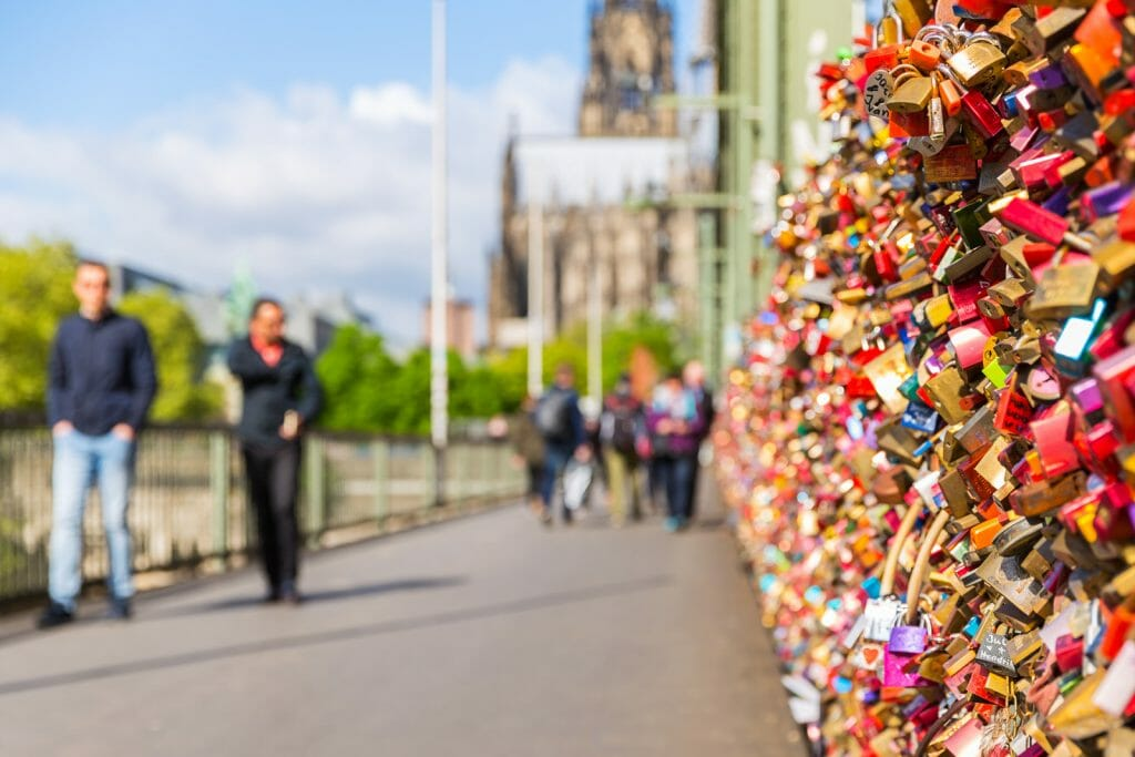 The Hohenzollern Bridge at cologne with Love Locks in germany. Taken outside with a 5D mark III.