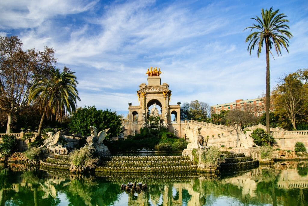 Magnificent fountain with pond in Parc de la Ciutadella, Barcelona