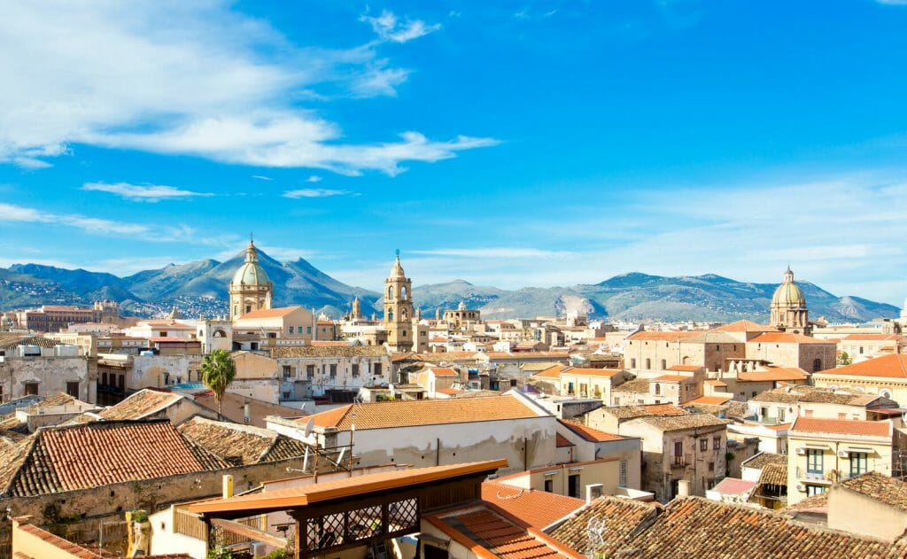 Panorama of the city of Palermo, view of the old town Palermo Italy