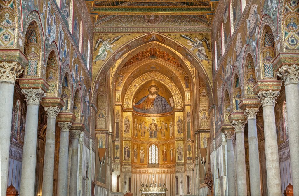 Palermo - Main nave of Monreale cathedral. Church is wonderful example of Norman architecture. Cathedral was completed about 1200.