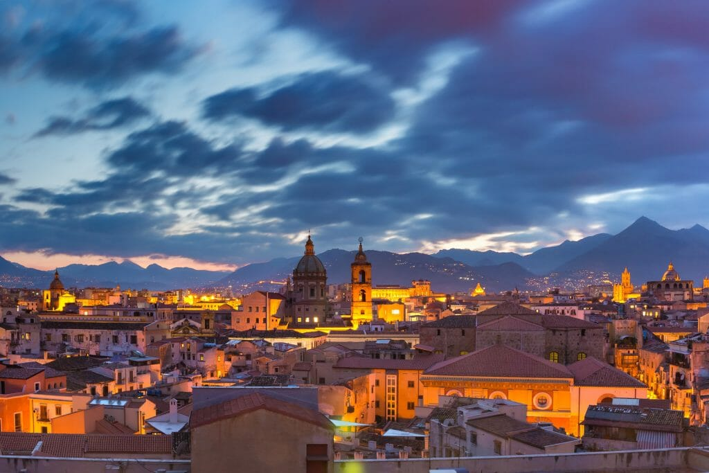 Aerial view of Palermo Italy with Church of the Gesu, Carmine church and Palermo cathedral at sunset, Sicily, Italy