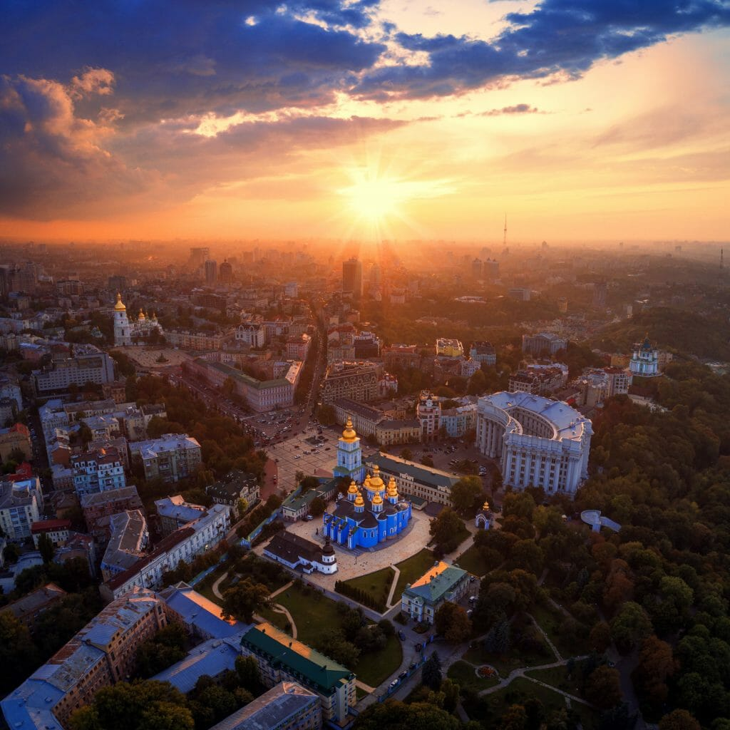 Beautiful panoramic view of the city of Kiev. Aerial view of St. Michael's Golden-Domed Monastery and Sophia Cathedral in the sunset. Ukraine