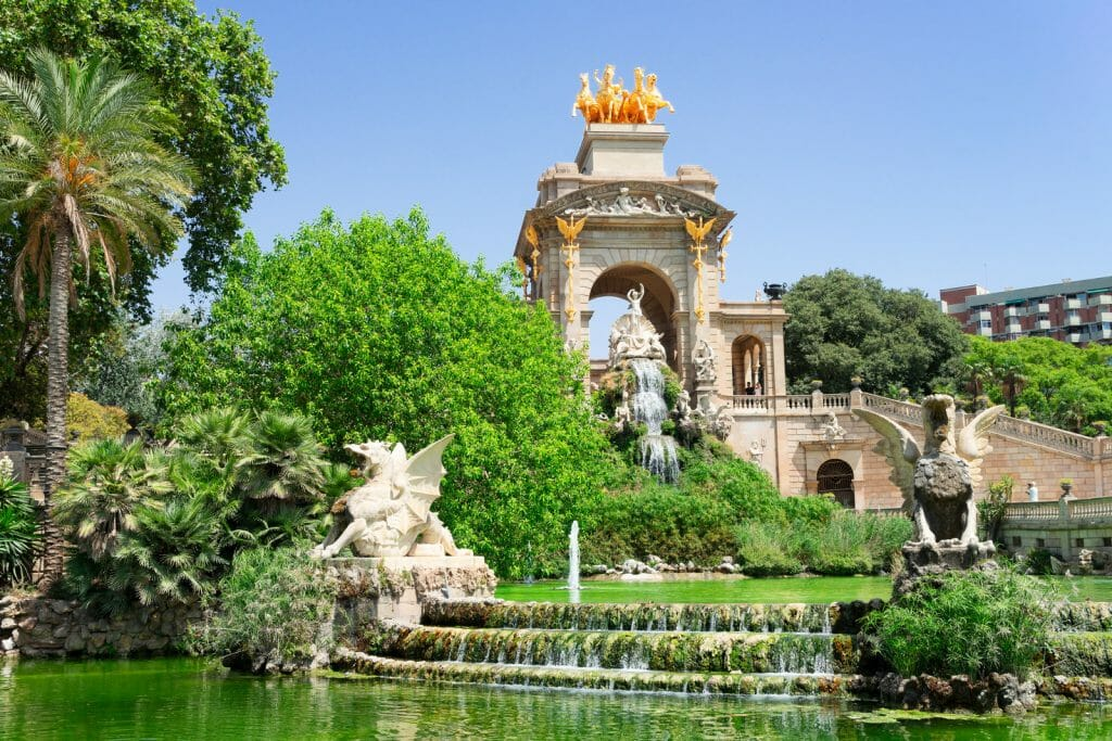 famous Park de la Ciutadella of Barcelona with fountain and lush gardens in Barcelona Spain