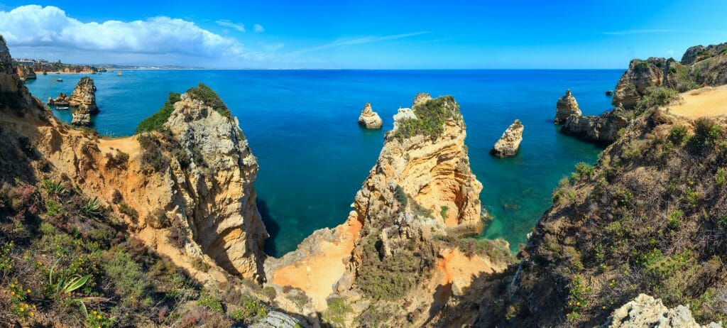 Ponta da Piedade (group of rock formations along coastline of Lagos town, Algarve, Portugal). . Five shots stitch high-resolution panorama.