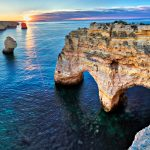 Sunrise at Heart Arch on beautiful coast of Algarve at sunrise, Portugal itinerary