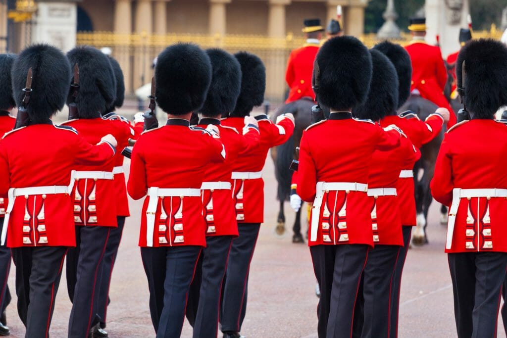 British infantry regiments performing Trooping the Colour ceremony marking the Queen's Birthday outside of Buckingham Palace in Central London.