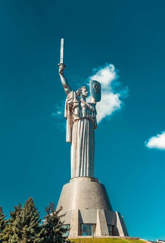 Motherland Munument statue - Statue of woman holding a sword and shield