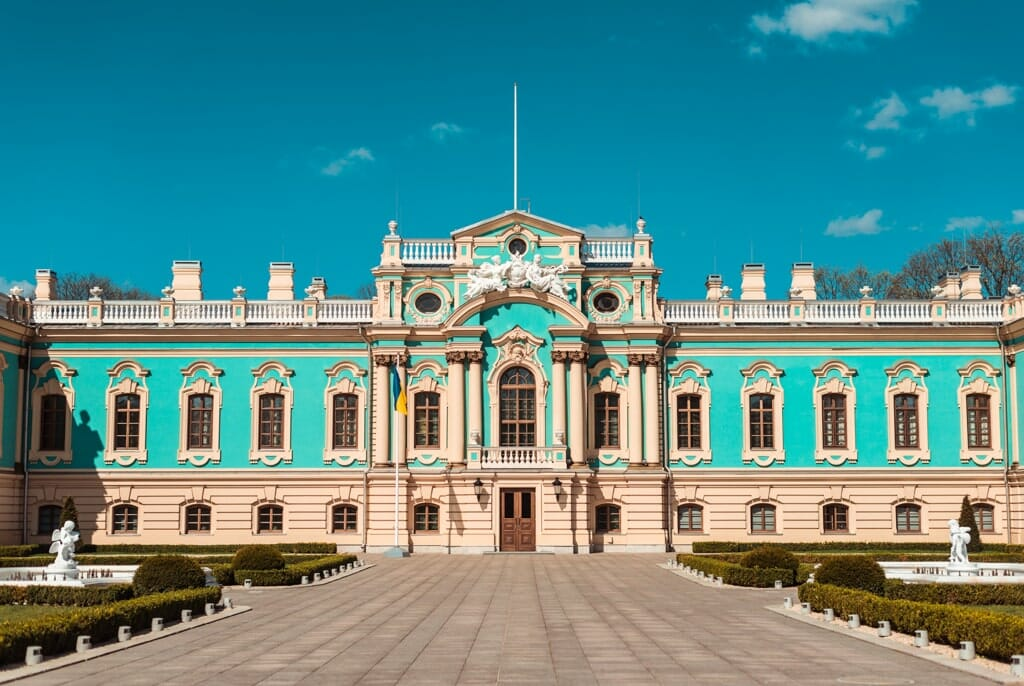 Turquoise government building in Kyiv