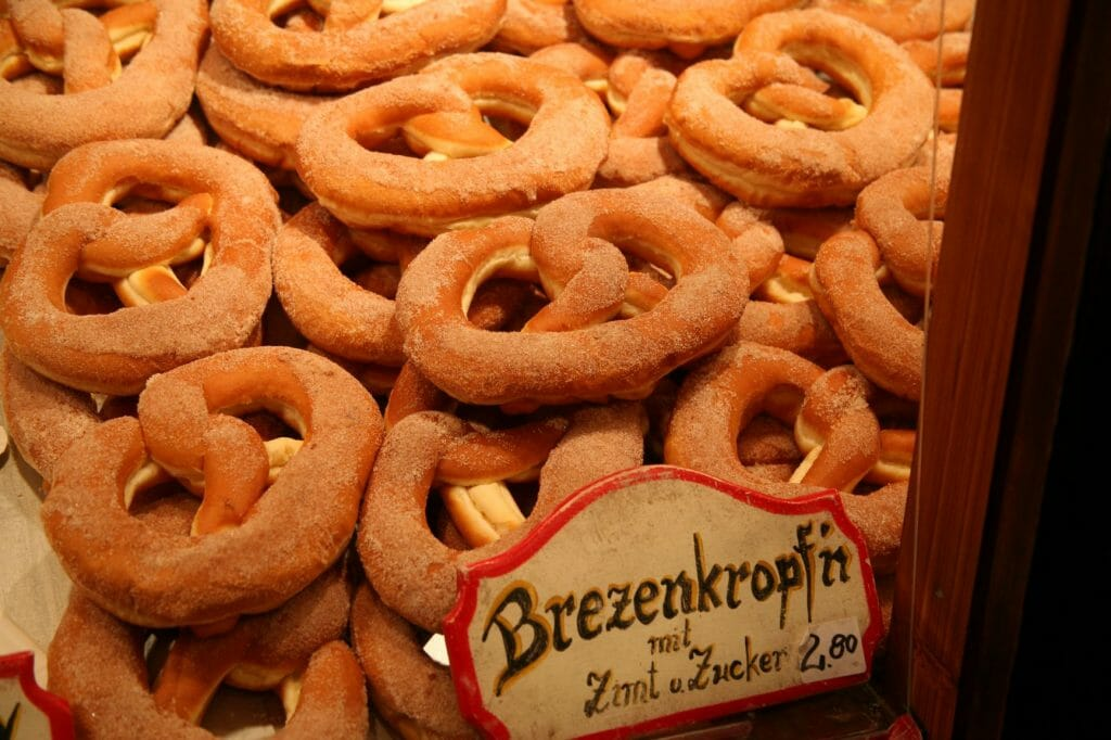 Cinnamon Pretzels at a booth at the Christmas Market in Cologne