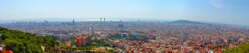 Panoramic city scape of Barcelona from Bunkers Del Carmel