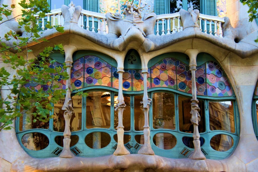 artistic Window of Casa Batlló Barcelona