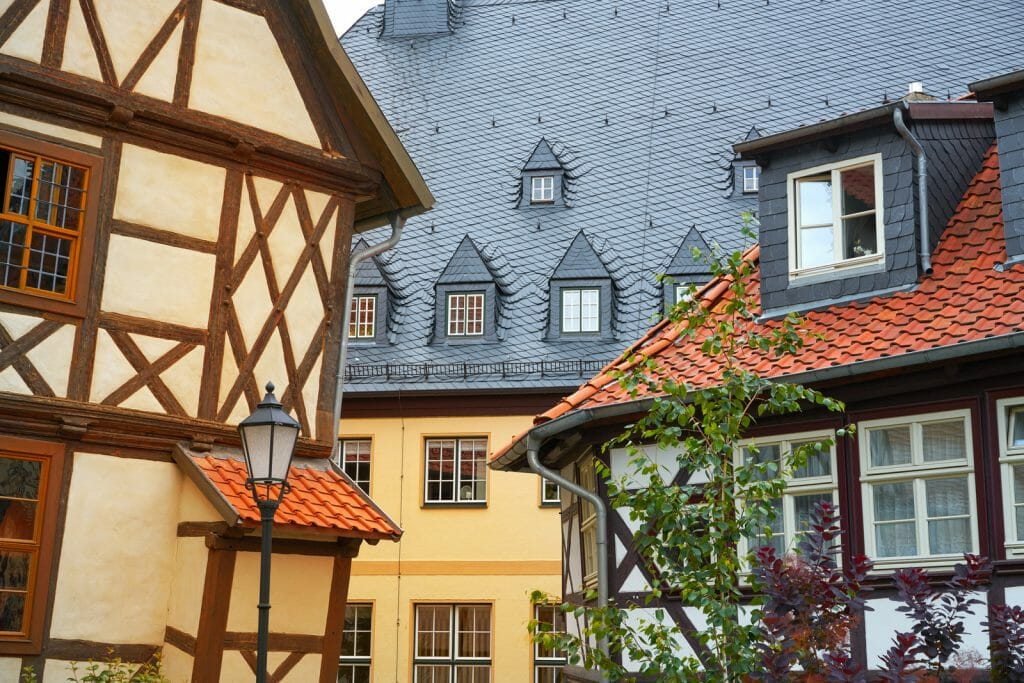 Wernigerode Half-timbered house facades in Harz Germany at Saxony Anhalt