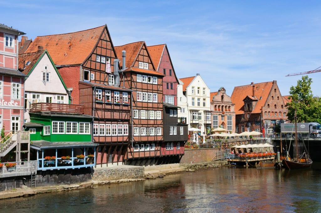 Historic timbered houses along the canal in the Old port of Lüneburg, Germany