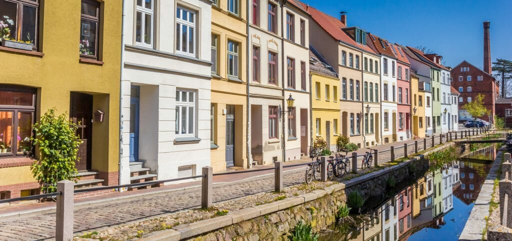Panorama of colorful houses at the canal in Wismar, Germany