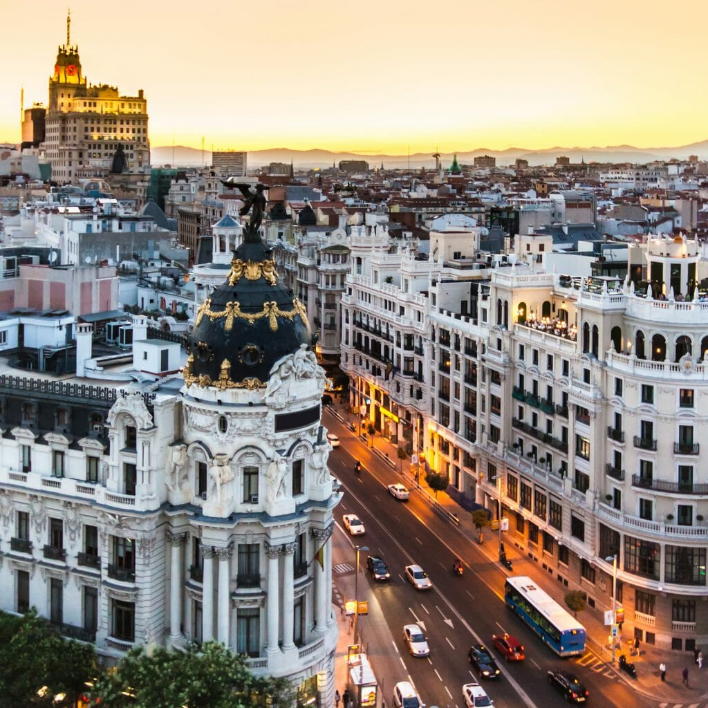 Panoramic aerial view of Gran Via, main shopping street in Madrid, capital of Spain, Europe.