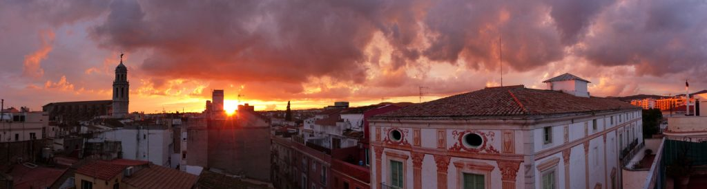 Panoramic view of sunset in the  Vilanova i la Geltru town. Garraf. Barcelona