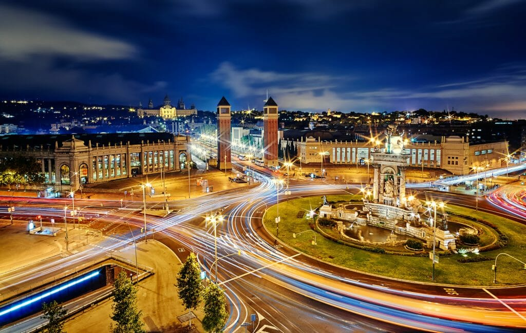 Long exposure night photo of Plaça d'Espanya at night in Barcelona, Spain