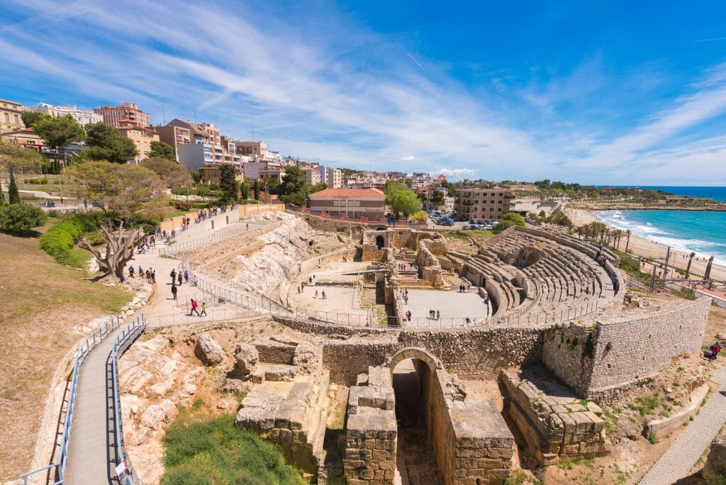 Roman Amphitheater with stone seats in a small town in Catalunia Spain