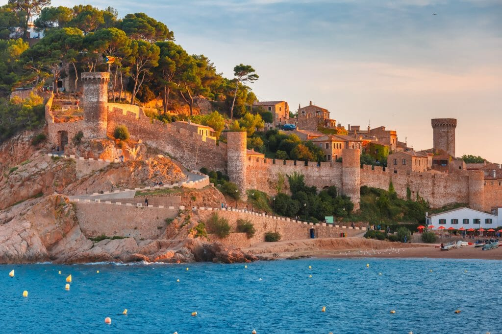Fortress in the evening in Tossa de Mar on Costa Brava, Catalunya, Spain