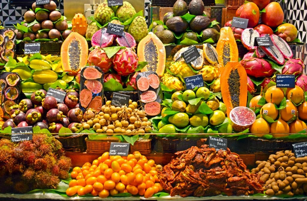 Tropical fruits in La Boqueria market, Barcelona Spain