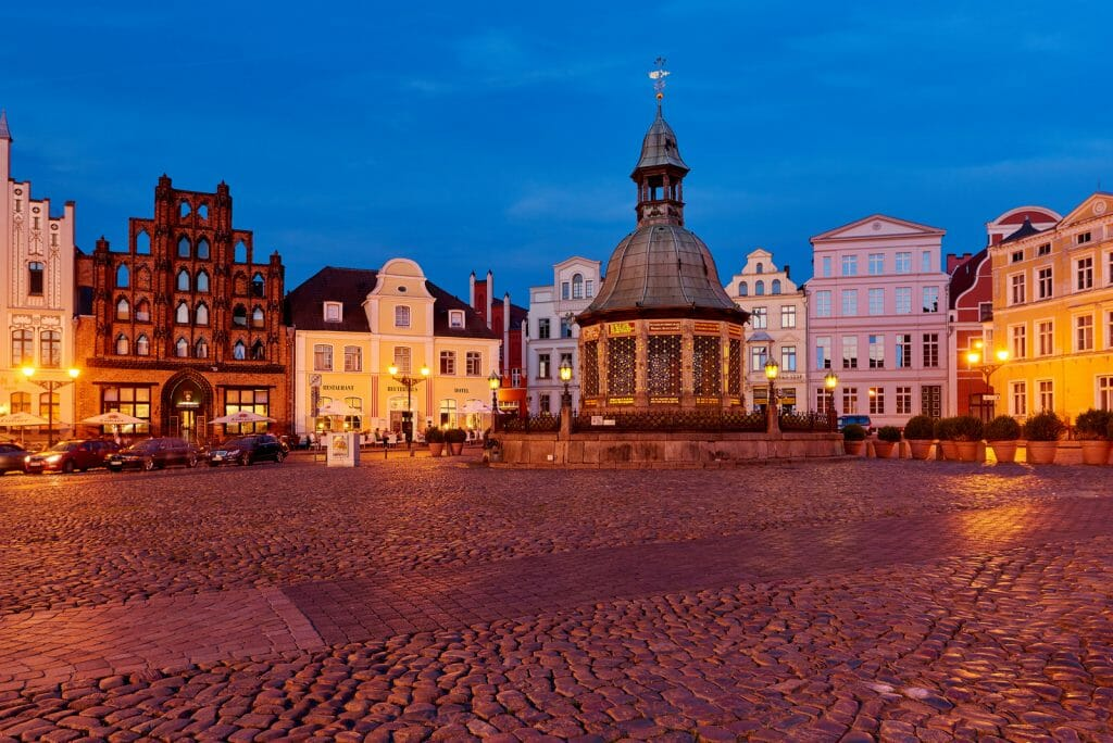 Central market square in old town Wismar during blue hour. Wismar Unesco World Heritage Site