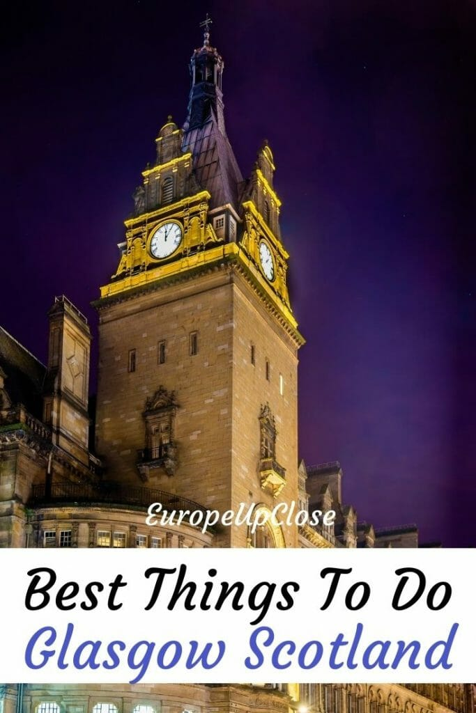 Planning a trip to Glasgow? Here is the perfect Glasgow itinerary and best things to do in Glasgow list that will help you make the most of your time in Glasgow. In this list you will find all the top attractions, sighs, restaurants, bars, parks and hidden gems in Glasgow that you should not miss. Whether you want to spend 1 day in Glasgow, a weekend or more, this list of Glasgow things to do will help you make the most of your time in this fun Scottish city.