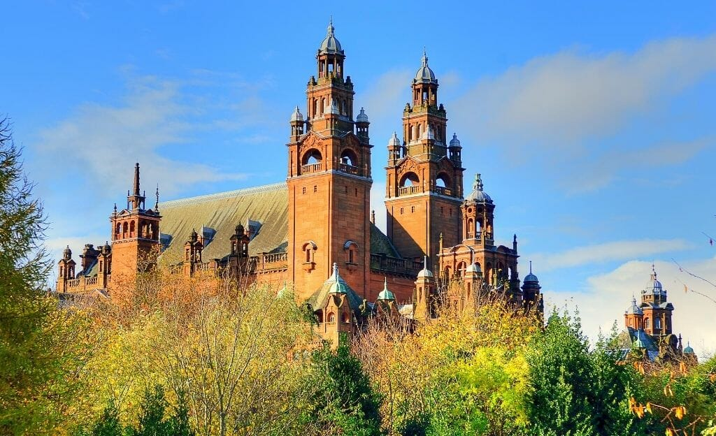 Kelvingrove Park Glasgow with red brick building in the background