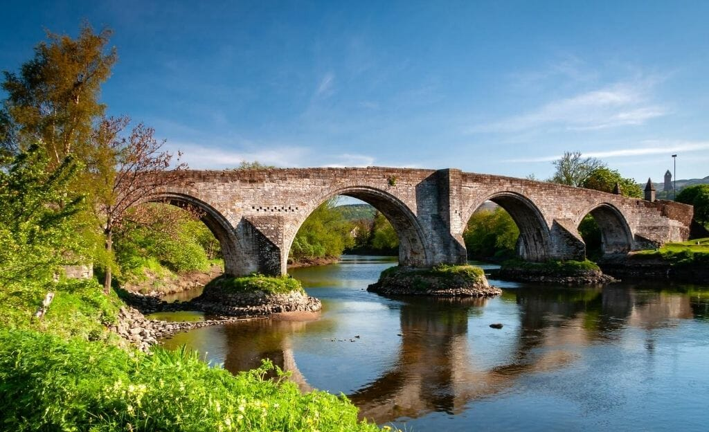 Arched stone bridge with 4 arches in Sterling Scotland