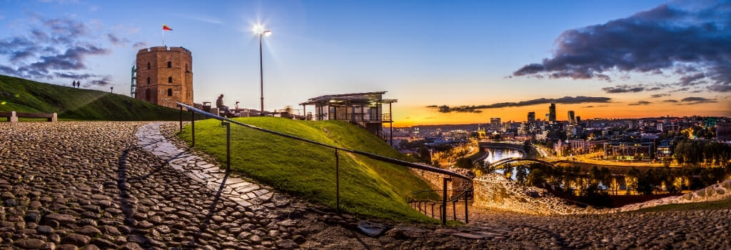 Sunset Panorama of Gediminas Hill and Tower with the city of Vilnius Lithuania below