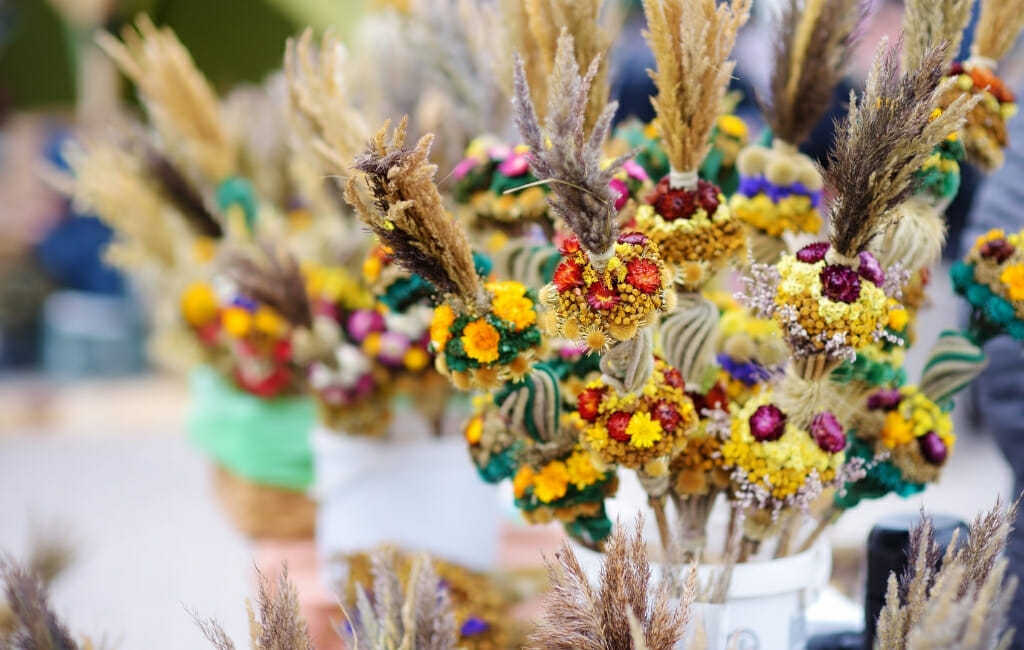 Lithuanian Crafts made with dried grass and flowers