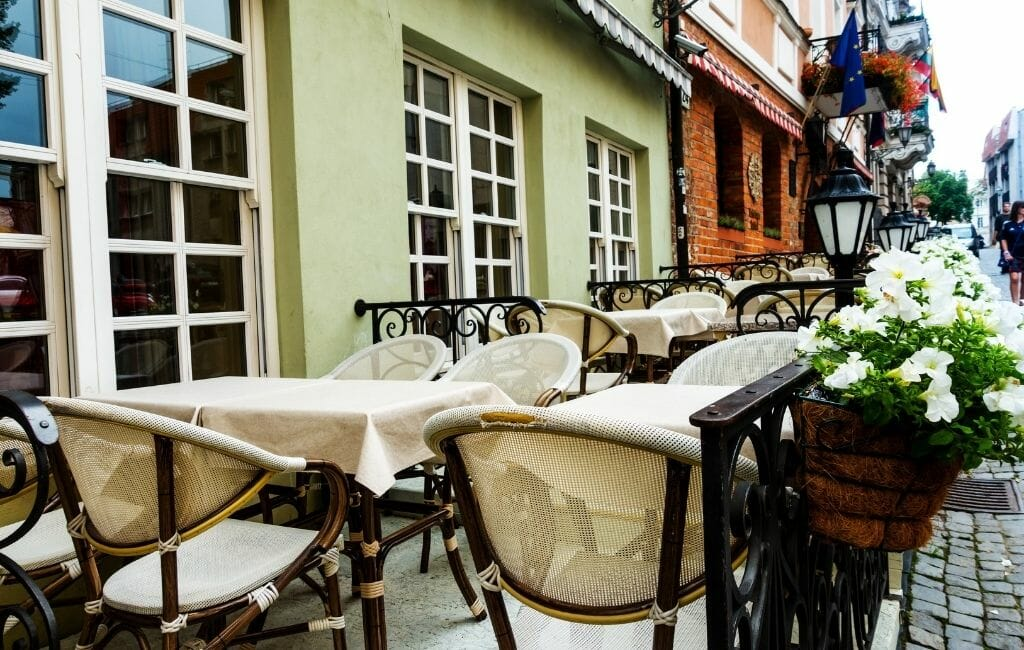Outdoor seating at Lithuanian Restaurants in Vilnius Old Town
