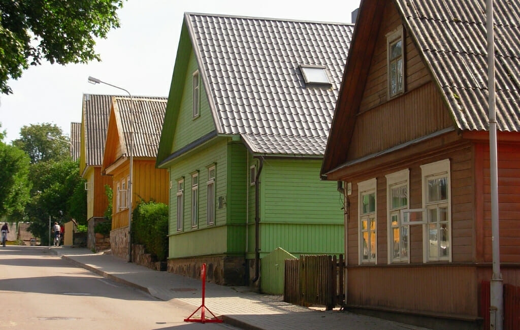 Trakai Old Town - Traditional Lithuanian houses in bright colors red green and yellow
