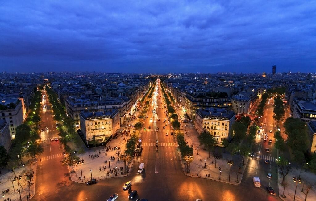 View of Champs Elysees from Arc de Triomphe during Blue hour