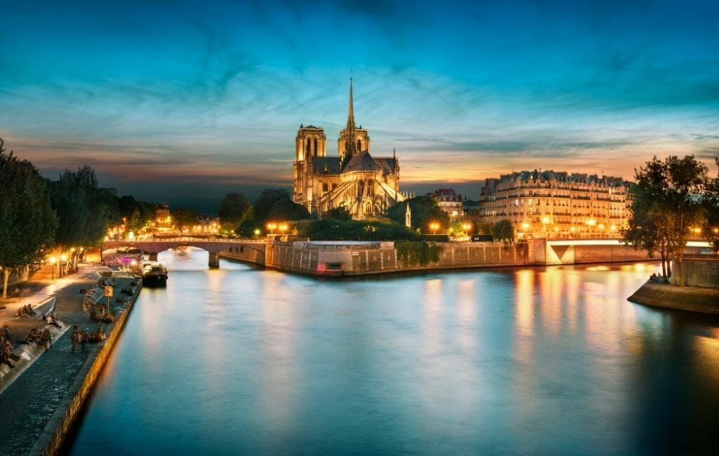 View of Seine River and Notre Dame Cathedral in the background