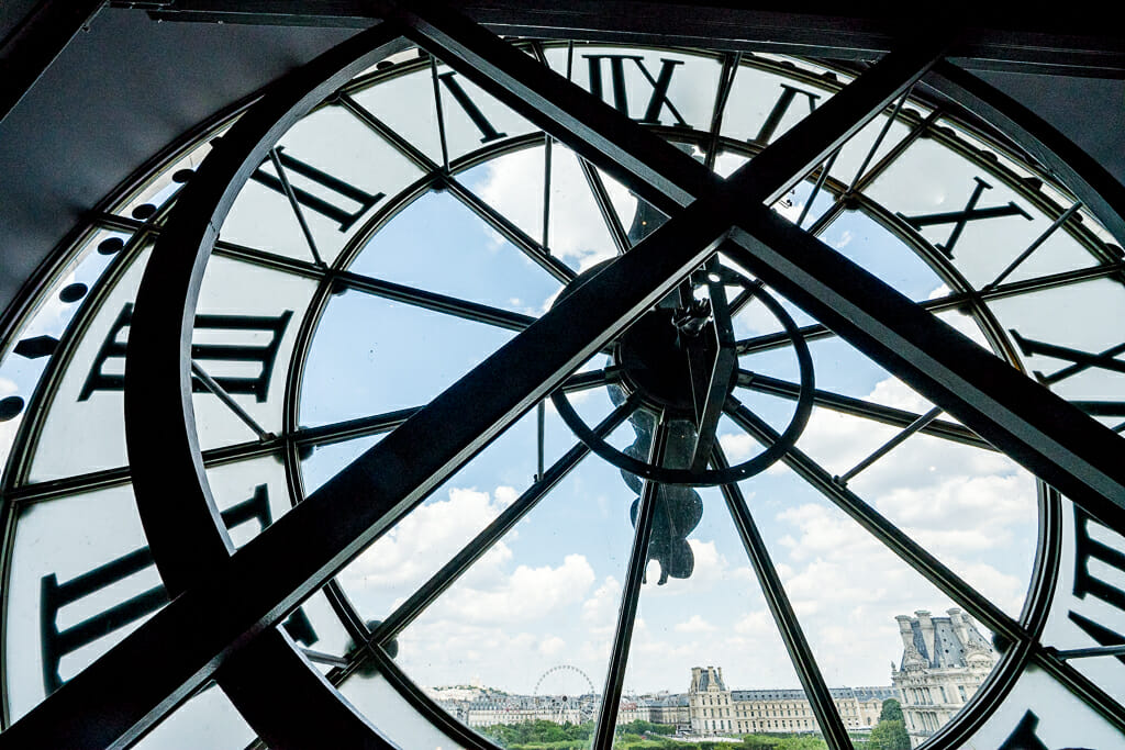 Clock Window overlooking Louvre at Musée d'Orsay