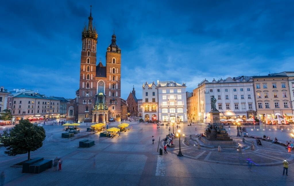 Krakow Poland Old Town Main Square during blue hour