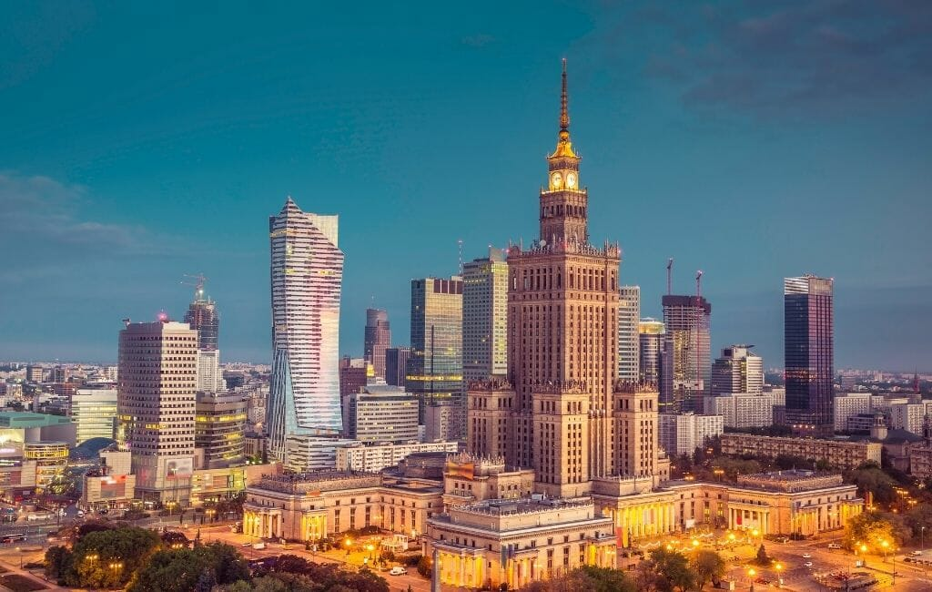 skyline of Warsaw Poland with modern highrises and Palace of Culture and Science Tower - Poland Itinerary