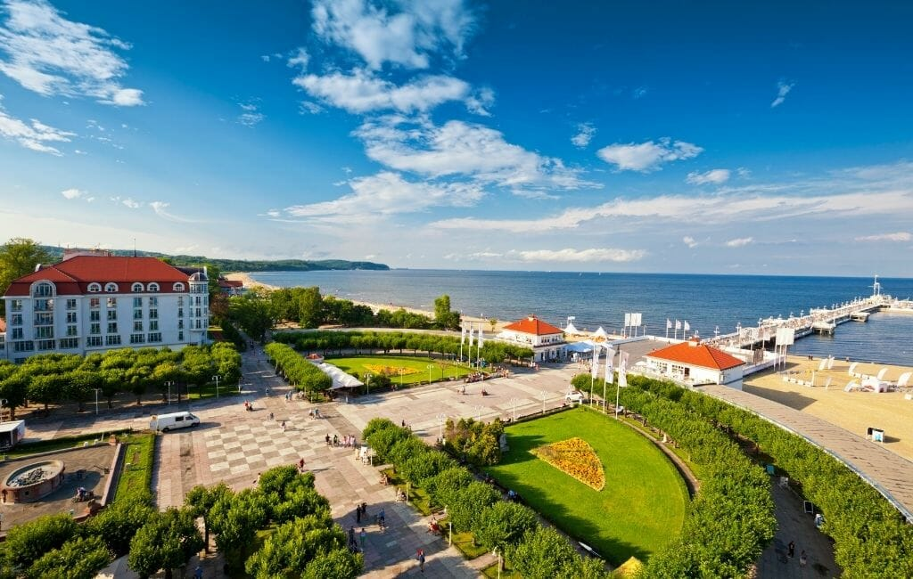 Aerial view of Sopot Poland - Upscale beach town in Poland near Gdanks