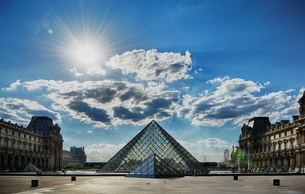 Glass pyramid - photo taken from in front of Louvre Paris - Things To do in Paris