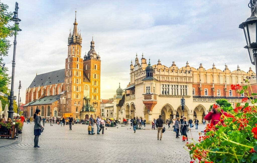 Main square in old town Krakow with Church and historic buildings