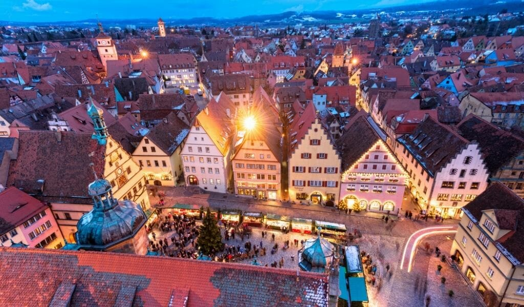 View of the Market Square in Rothenburg ob der Tauber from the Rothenburg City Hall Tower during Blue hour